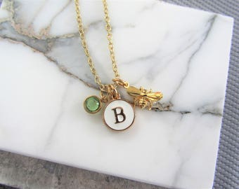Gold Bee Necklace, Bee Birthstone Initial Letter Necklace, Personalised Necklace Jewellery, Queen Bee Necklace, New Mommy Gift,Birthstone
