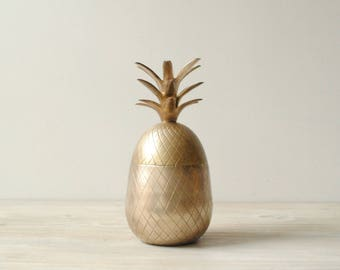 Vintage Brass Pineapple Box, Pineapple Candle Holder
