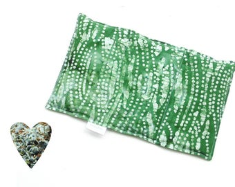 Hot cold pack, microwavable, aromatherapy, microwave heat pack, green batik, freezer pack, flax seed rice lavender buds, soothing