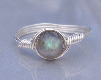 25% Off Sale Labradorite Argentium Sterling Silver Wire Wrapped Stone Ring