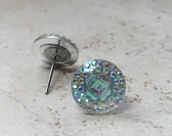 Bright White Sparkly Faux Crystal Earrings, Geometric Stainless Steel Studs, Galaxy Inspired Jewelry, Crystal Clear