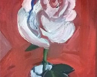 Original Small Floral Acrylic Painting of a Rose by Rina Miriam Drescher