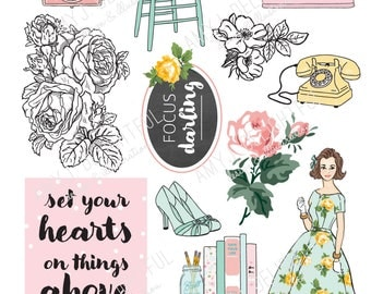 SMALL SIZE Printable Floral Blank Planner File TABS Digital