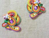 Boho colorful earrings, soutache jewelry, soutache costume earrings, earrings fiber art, carmen miranda earrings, gift for her, summer stud