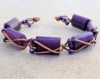 Copper Wire Wrapped Purple Quartzite Beaded Cuff Bracelet By Distinctly Daisy