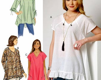 Easy Pullover Tops Pattern, Very Loose Fitting Tops Pattern, High Low Tops Pattern, Butterick Pattern 6215