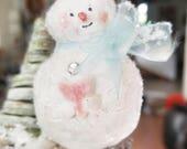 Love Snowman Ornament- reserved for Cheri
