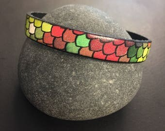 Mermaid jewelry - Mermaid scales leather bracelet