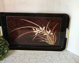 Large Vintage Laquerware Tray Oriental Serving Tray Home Decor