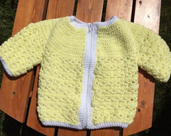 Crochet yellow and white toddler jacket with zipper closure