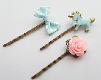 Blue Unicorn Bobby Pin Set, Polka Dot Blue Bow Bobby Pin, Pink Rose Bobby Pin, Unicorn Accessories, Or Pick and Mix