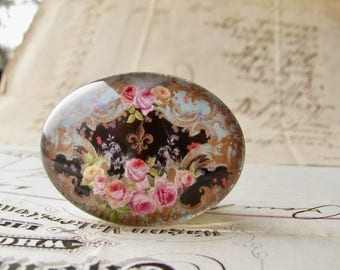 Horizontal 25x18mm glass oval cabochon, pink Victorian roses on black, handmade in this shop, Fabulous Floral collection, romantic