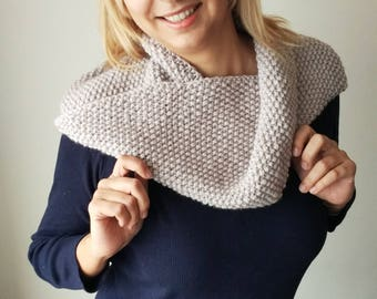 Knitted Cowl in bright grey - choose a color