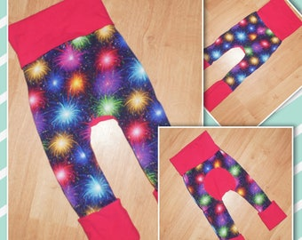 Maxaloones - Grow with Me - Lounge Pants - Comfy Pants - Fireworks - Blue and Pink - Colourful