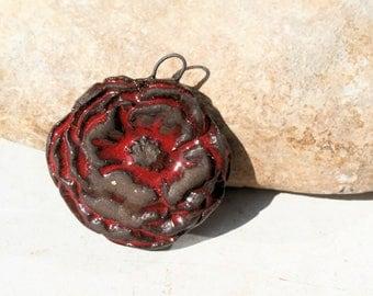 red poppy pendant, handmade ceramic supply