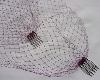 Amethyst Plum Fine Russian Birdcage Bandeau Wedding Bridal Veil - Comb Attachment