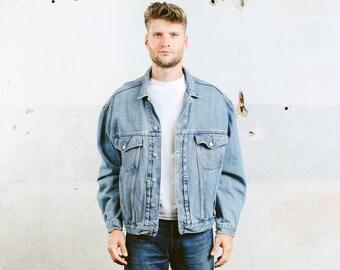 Oversized Denim Jacket . Blue Jeans Jacket Vintage 80s Men's Trucker Jacket Denim Distressed Faded Stonewashed . size Extra Large XL