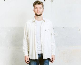 White Corduroy Shirt . Mens Vintage Shirt Minimalist Shirt Casual Cord Men's 80s Unisex Shirt Boyfriend Gift for Him . size Large