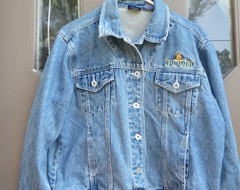 vtg Womens DISNEY WINNIE the POOH womens denim embroidered  jean jacket  size    large  by  Jerry Leigh