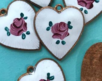 Vintage Guilloche Heart Pendant, Enamel Heart Pendant, Guilloche charm,  Hand painted Rose, vintagerosefindings, Valentines day, #1090SQ