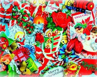 Vintage Christmas Gummed Seal Stickers / Lot of 50 / Junk Journal