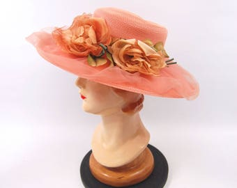 1970s Wide Brimmed Pink Straw Hat - Peach Pink Floral Hat - Tea Party Made in USA // Big Brim Sun Hat
