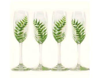 Hand-Painted Forest Fern Glasses, Set of 4 - Lush Green Ferns - Housewarming Summer Hostess Gift Idea