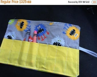 Christmas IN JULY SALE Crayon Roll up monsters