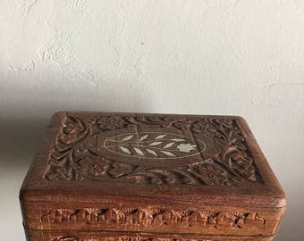 SUMMER SALE 70s Hand Carved Wooden Indian Box