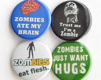 """Zombie Survival Kit, 1.5"""" Eat Flesh Funny Fridge Magnet, The Walking Dead Party Favors, Pins For Jackets, Halloween Costume Accessory (38mm)"""