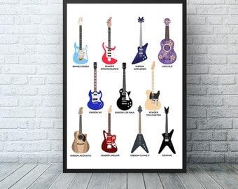 Guitar Art, Music Wall Art, Rock n Roll, Sheet Music Art Print, Guitar Poster, Acoustic Guitar, Guitar Player Gift, Music Decor, Gibson Les