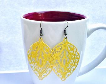 Yellow Filigree Dangle Earrings