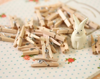 Plain Natural Mini Wooden Pegs 25mm