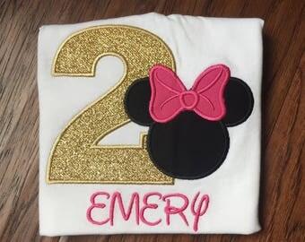 Minnie Mouse Birthday - Minnie Mouse Birthday Shirt - Girls Minnie Mouse Shirt