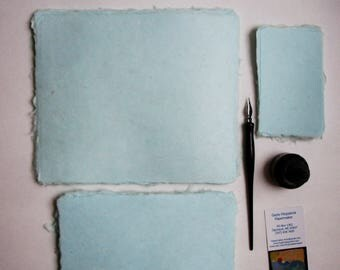 Ten sheets of lovely handmade paper, seafoam
