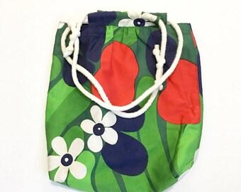 Vintage Floral Tote bag, 60s Beach Bag, Boho Chic