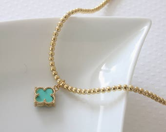 Turquoise Flower Necklace - Beaded Chain Necklace - Blue Flower Necklace - Celebrity Inspired - Everyday Jewelry - Blue Quatrefoil Necklace