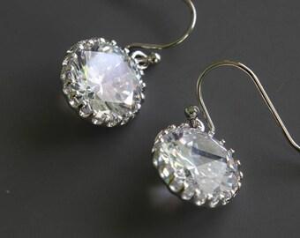 Cubic Zirconia Earrings, Clear Crystal Earrings, Sparkly Earrings, Diamond Like Earrings, Dangle Earrings, Wedding Jewelry, Bridal Earrings
