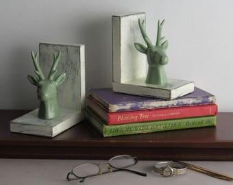 Reindeer Green - handcrafted bookends - Deer - antlers - quirky animals - bookshelf decor