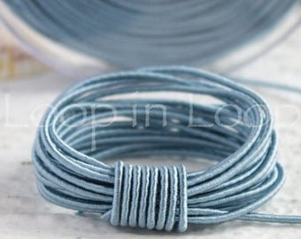 25%OFF Sky Blue SILK cord, Wrapped Silk Satin Cord rope 1.5 mm thick, organic natural hand spun silk, polyester core, for Jewelry (3 feet)