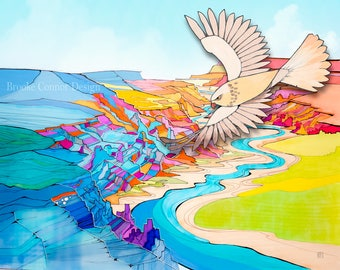 The sandstone hawk over canyons giclee print