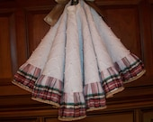 """38"""" Beautiful White Hand Beaded with Tartan  Reversible Christmas Tree Skirt 2016 Collection"""
