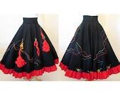 "Killer 1950's Designer Novelty Full Circle Skirt by ""Juli Lynne Charlotte"" Three D Flamenco Dancers Applique VLV Rockabilly size Small"