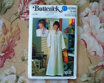 Caftan Pattern Maxi Dress Pattern Bust 34 Size 12 Butterick 4560 Uncut Boho Dress Pattern 70s Dress Pattern