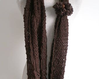 Pure Organic Cotton Dark Chocolate Brown Color Chunky Long Lacy Infinity Scarf Cowl Head Cover Scoodie Gaiter
