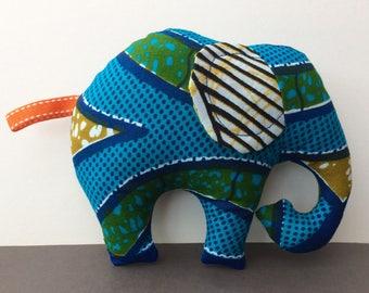 Elephant baby gift etsy baby elephant soft toy in african fabric vibrant unisex baby toy cuddly elephant negle Images