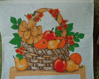 Vintage 1986 Calendar Tea Towel, B & D , Basket and Fruit Theme