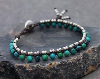 Chrysocolla Beaded Bracelets Green Stone Woven Silver Petite Cute