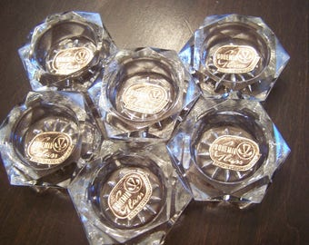 Antique/Vintage Open Salt Cellars, (6) Original Box, Hexagon, Unused, Bohemian Glass, Czech, Czechoslovakia,