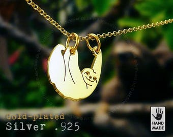 Tiny SLOTH Three Toed Handmade Goldplated Sterling Silver .925 Necklace in a gift box